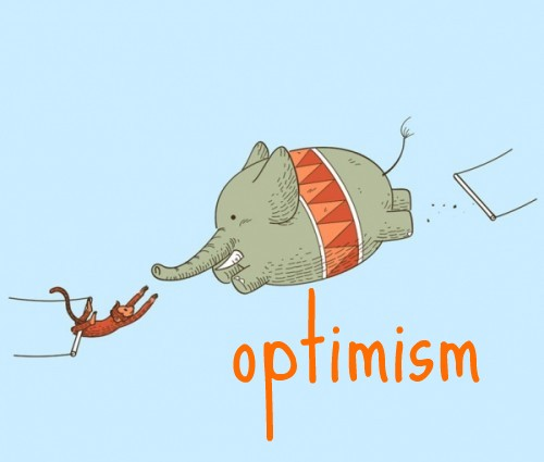 Day 55(4): just a little cute one that fits today's theme. be optimistic and give things a go – we all know the elephant is probably going to fall down but at least he won't die wondering.